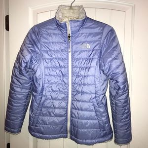 NORTH FACE Reversible Purple Puffer Jacket Coat L